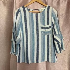 Boho vintage top linen blue white stripes EUC S